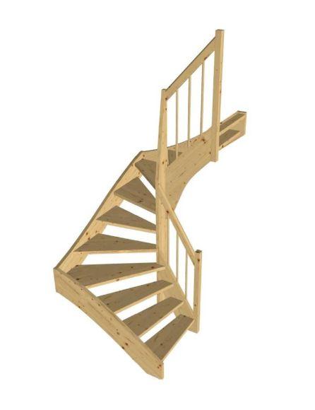 STOCKHOLM furu halvsvängd trappa